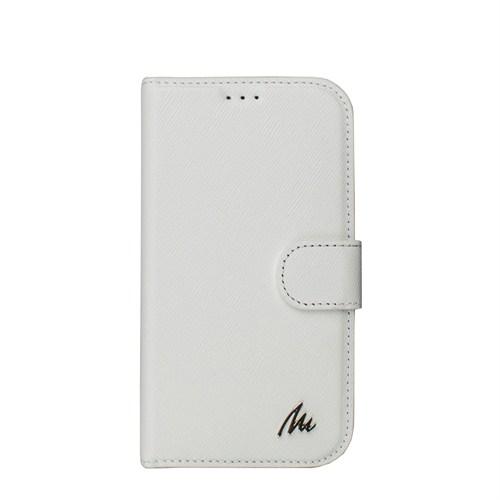 Matraş Galaxy S4 Stand Kartlıklı Cüzdan Kılıf Beyaz Çuval