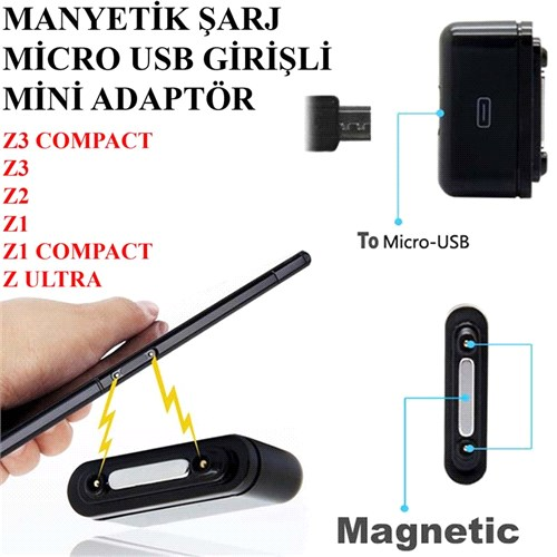 Sony Xperıa Z1 Telefon Manyetik Şarj Micro Usb Adaptörü