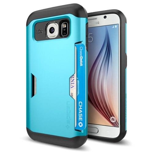Spigen Samsung Galaxy S6 Case Slim Armor Cs Kartlıklı Kılıf Blue Topaz Kılıf Mavi