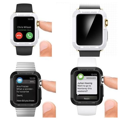 Apple Watch 42 Mm Kılıf Sert Silikon Rubber Beyaz Tempered Cam