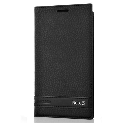 CoverZone Samsung Galaxy Note 5 Kılıf Kapaklı Safir Siyah