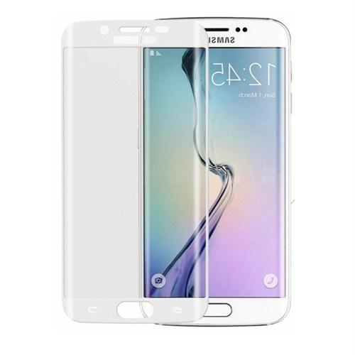 Case 4U Samsung Galaxy S6 Edge 3D Kavisli Cam Ekran Koruyucu Beyaz