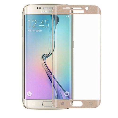 Case 4U Samsung Galaxy S6 Edge 3D Kavisli Kırılmaz Cam Ekran Koruyucu Altın