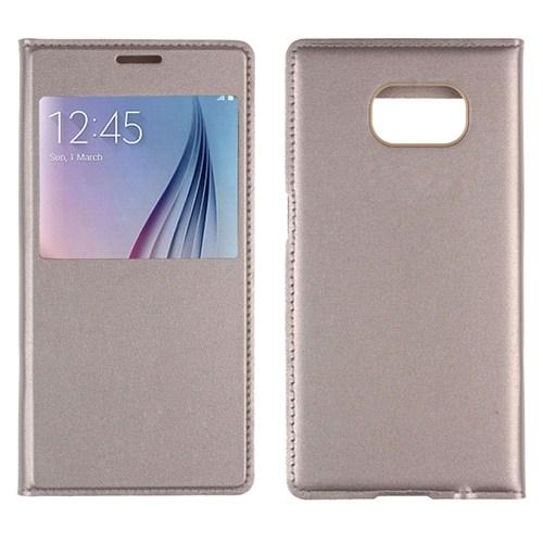 Case 4U Samsung Galaxy S6 Edge Pencereli Flip Cover Altın