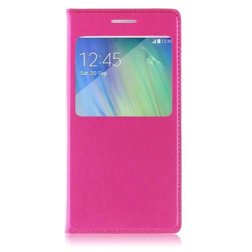 Case 4U Samsung Galaxy A3 Pencereli Flip Cover Pembe