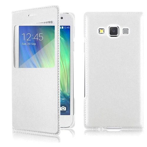 Case 4U Samsung Galaxy A3 Pencereli Flip Cover Beyaz