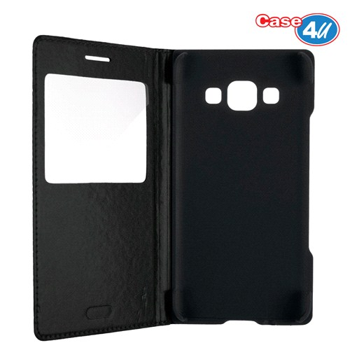 Case 4U Samsung Galaxy A3 Pencereli Flip Cover Siyah