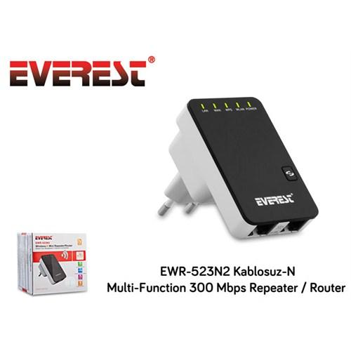 Everest Ewr-523N2 Kablosuz-N Multi-Function 300 Mbps Repeater+Access Point+Bridge Client Router