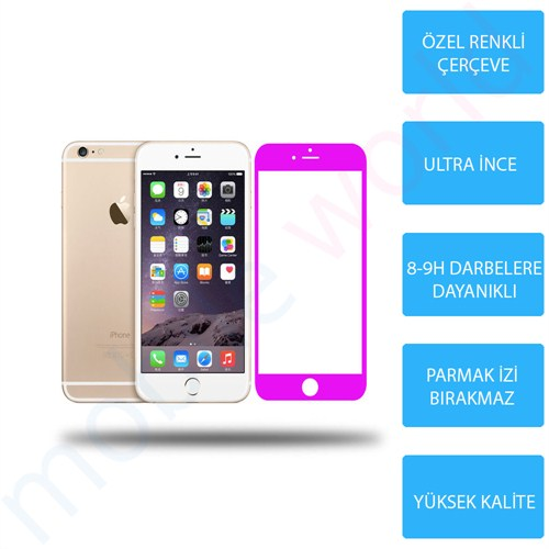 Mobile World iPhone 6 PLUS Renkli Cam Ekran Koruyucu Pembe - 2571
