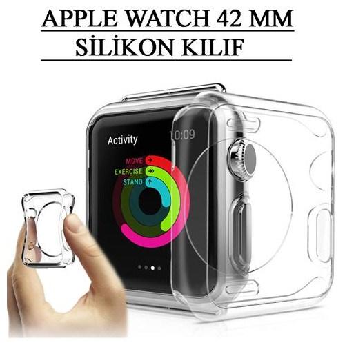 Apple Watch 42 Mm Kılıf Tpu Silikon Tasarım Füme Tempered Cam