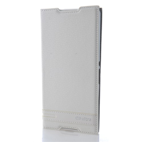 CoverZone Sony Xperia C5 Deri Kılıf Safir Kapaklı Beyaz