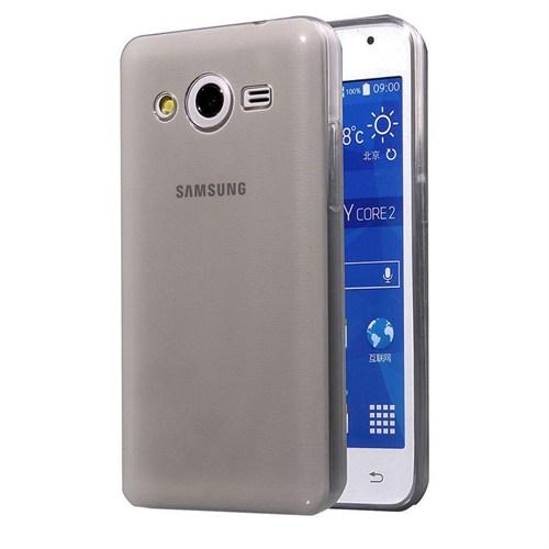 Case 4U Samsung Galaxy Core 2 Ultra İnce Silikon Kılıf Füme