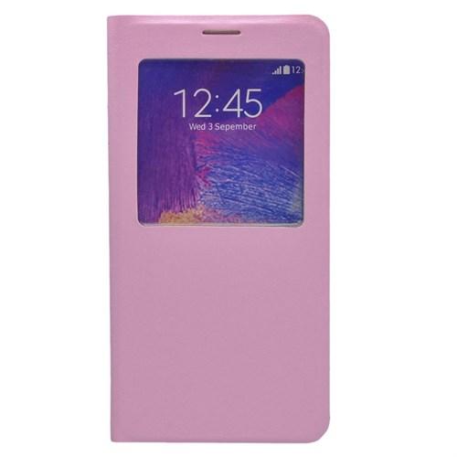 Case 4U Samsung Galaxy Note 5 Pencereli Flip Cover Pembe