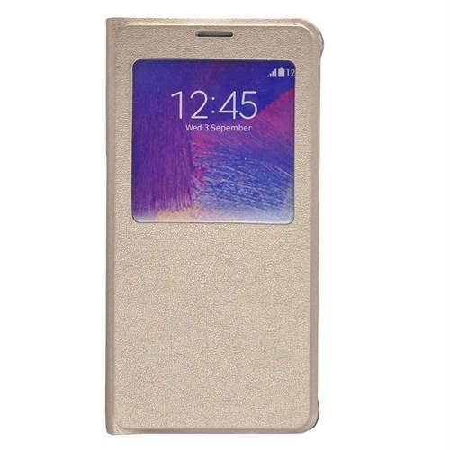 Case 4U Samsung Galaxy Note 5 Pencereli Flip Cover Altın