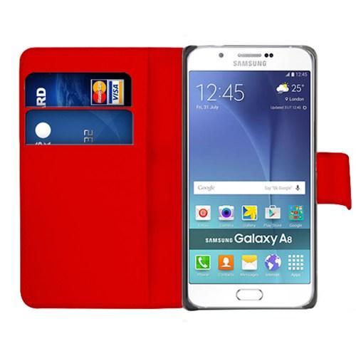 Microsonic Samsung Galaxy A8 Kılıf Cüzdanlı Deri Kırmızı