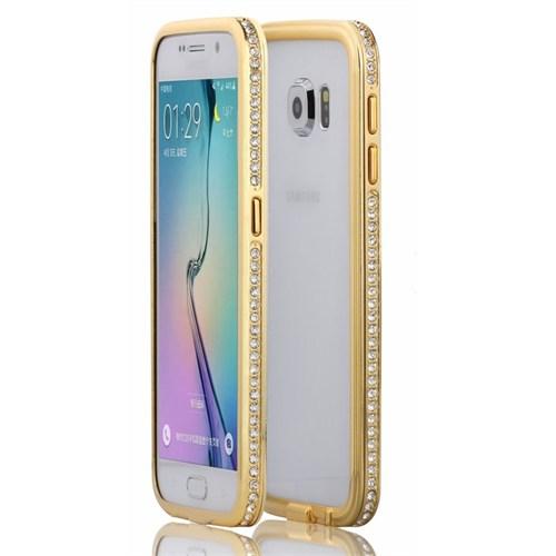 Microsonic Samsung Galaxy S6 Kılıf Taşlı Metal Bumper Gold