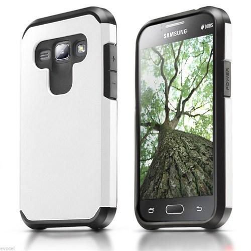 Microsonic Samsung Galaxy J1 Kılıf Slim Fit Dual Layer Armor Beyaz