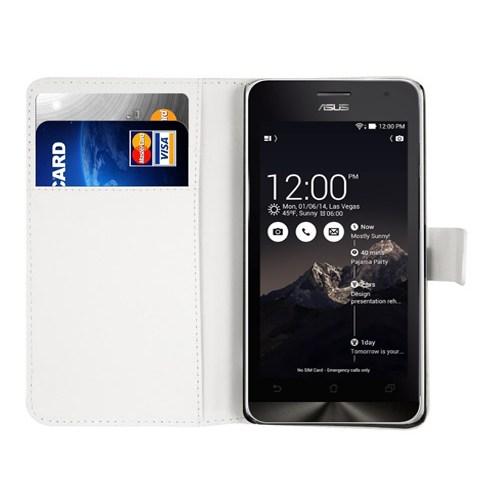 Microsonic Asus Zenfone 2 (5.5'') Kılıf Cüzdanlı Deri Beyaz