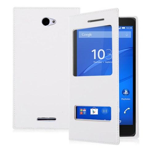 Microsonic Sony Xperia E4 5.0'' Kılıf Dual View Delux Kapaklı Beyaz