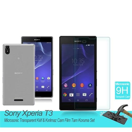 Microsonic Sony Xperia T3 Transparent Kılıf & Kırılmaz Cam Film Tam Koruma Set