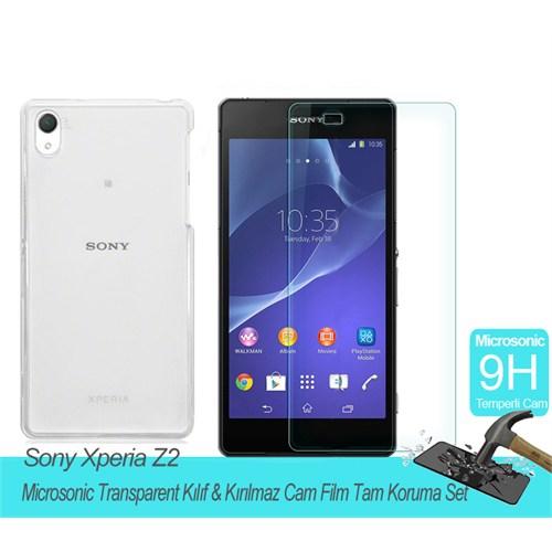 Microsonic Sony Xperia Z2 Transparent Kılıf & Kırılmaz Cam Film Tam Koruma Set