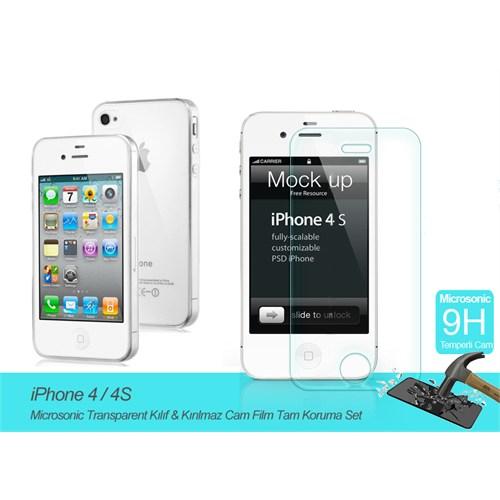 Microsonic Apple İphone 4 / 4S Transparent Kılıf & Kırılmaz Cam Film Tam Koruma Set