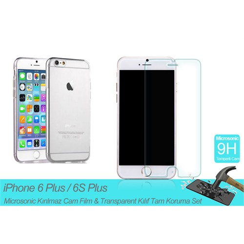 "Microsonic Apple İphone 6 Plus (5.5"") Transparent Kılıf & Kırılmaz Cam Film Tam Koruma Set"