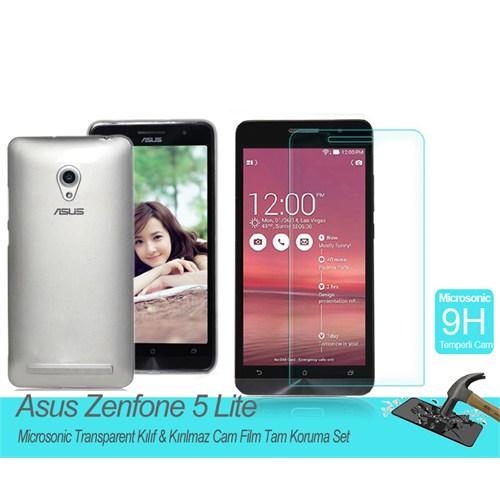 Microsonic Asus Zenfone 5 Lite Transparent Kılıf & Kırılmaz Cam Film Tam Koruma Set