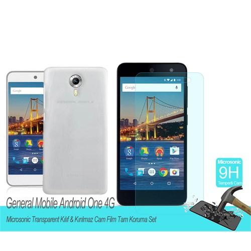 Microsonic General Mobile Android One 4G Transparent Kılıf & Kırılmaz Cam Film Tam Koruma Set