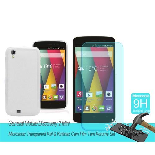 Microsonic General Mobile Discorvery 2 Mini Transparent Kılıf & Kırılmaz Cam Film Tam Koruma Set