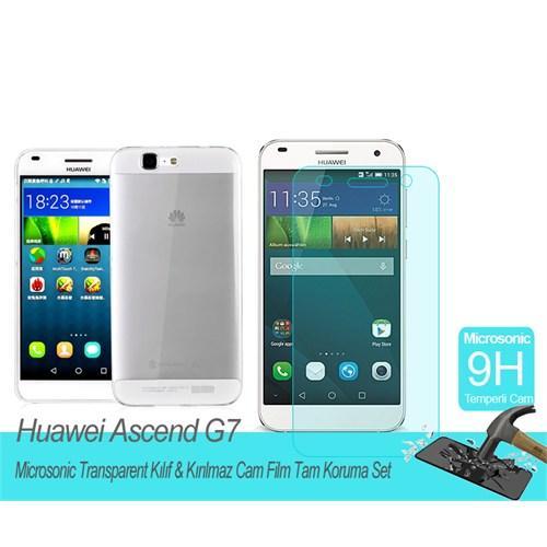 Microsonic Huawei Ascend G7transparent Kılıf & Kırılmaz Cam Film Tam Koruma Set