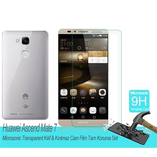 Microsonic Huawei Ascend Mate 7 Transparent Kılıf & Kırılmaz Cam Film Tam Koruma Set