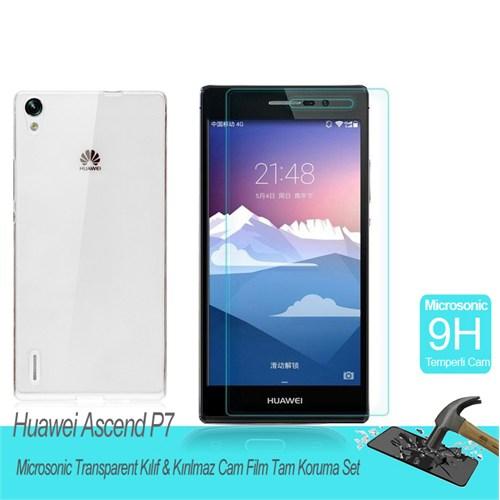 Microsonic Huawei Ascend P7 Transparent Kılıf & Kırılmaz Cam Film Tam Koruma Set