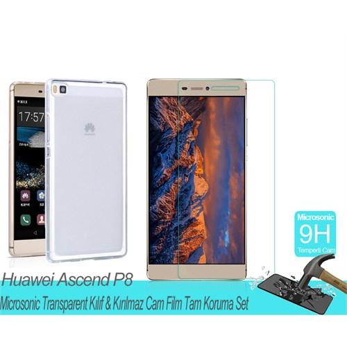 Microsonic Huawei Ascend P8transparent Kılıf & Kırılmaz Cam Film Tam Koruma Set