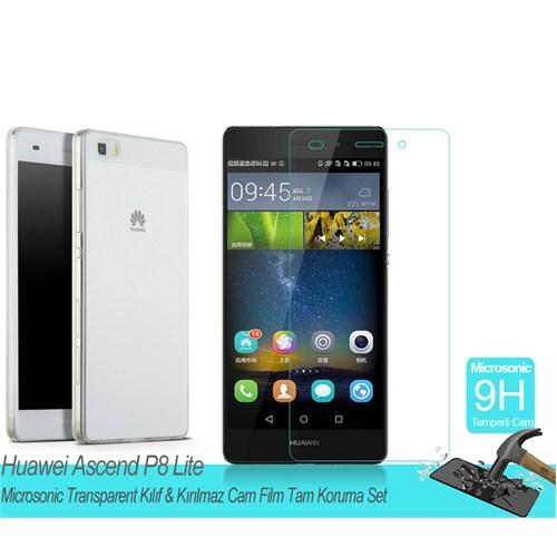 Microsonic Huawei Ascend P8 Litetransparent Kılıf & Kırılmaz Cam Film Tam Koruma Set