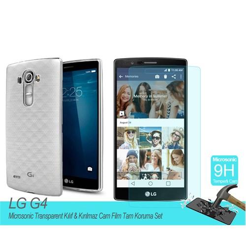 Microsonic Lg G4 Transparent Kılıf & Kırılmaz Cam Film Tam Koruma Set