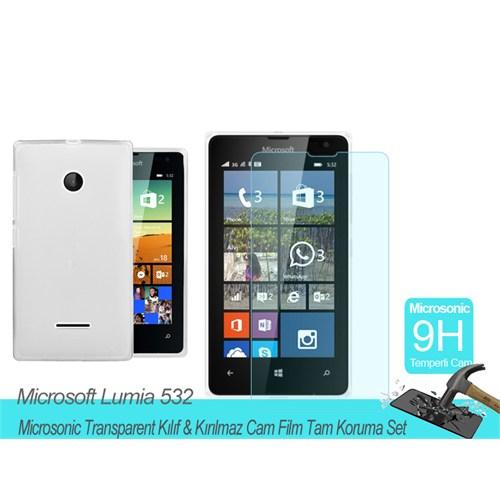Microsonic Microsoft Lumia 532 Transparent Kılıf & Kırılmaz Cam Film Tam Koruma Set