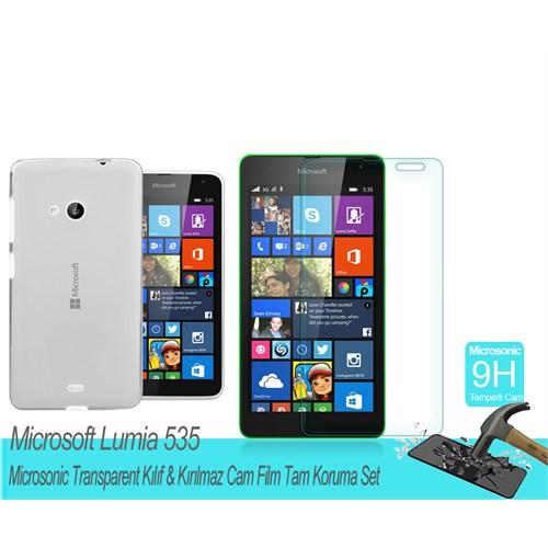 Microsonic Microsoft Lumia 535 Transparent Kılıf & Kırılmaz Cam Film Tam Koruma Set