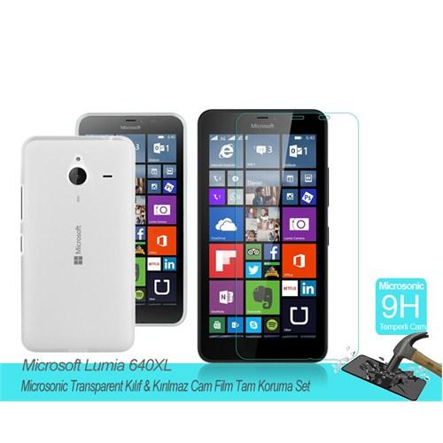 Microsonic Microsoft Lumia 640 Xl Transparent Kılıf & Kırılmaz Cam Film Tam Koruma Set
