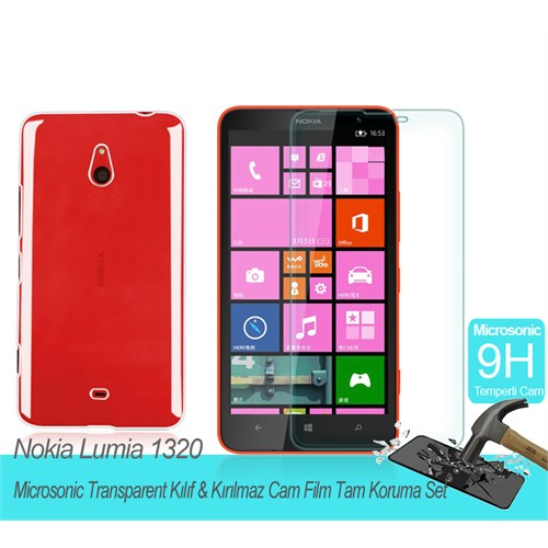 Microsonic Nokina Lumia 1320 Transparent Kılıf & Kırılmaz Cam Film Tam Koruma Set