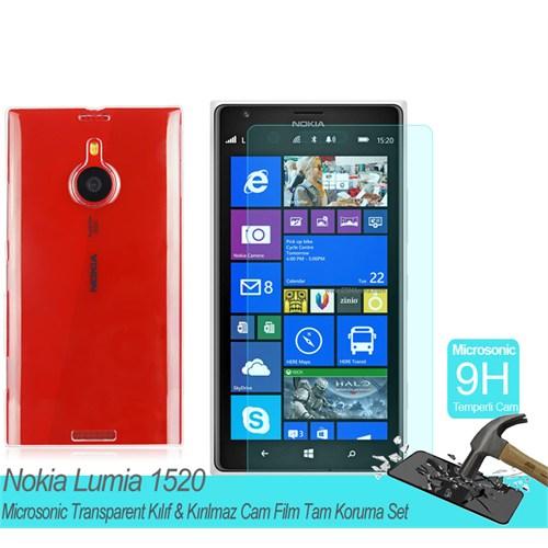 Microsonic Nokia Lumia 1520 Transparent Kılıf & Kırılmaz Cam Film Tam Koruma Set