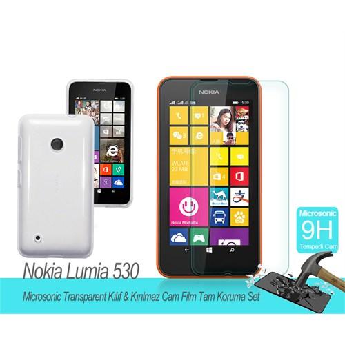 Microsonic Nokia Lumia 530 Transparent Kılıf & Kırılmaz Cam Film Tam Koruma Set