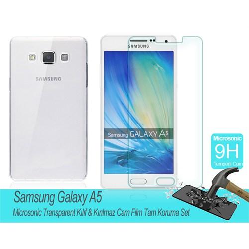 Microsonic Samsung Galaxy A5 Transparent Kılıf & Kırılmaz Cam Film Tam Koruma Set