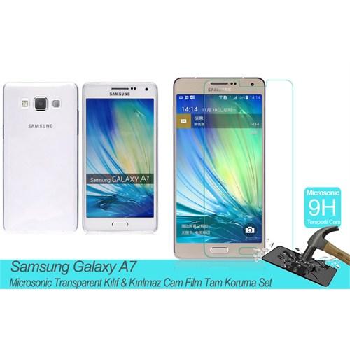 Microsonic Samsung Galaxy A7 Transparent Kılıf & Kırılmaz Cam Film Tam Koruma Set