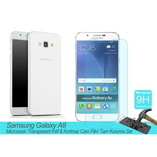 Microsonic Samsung Galaxy A8 Transparent Kılıf & Kırılmaz Cam Film Tam Koruma Set