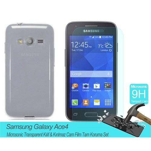 Microsonic Samsung Galaxy Ace 4 Transparent Kılıf & Kırılmaz Cam Film Tam Koruma Set