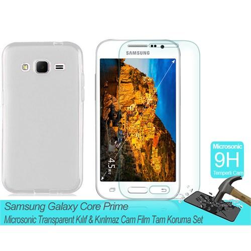Microsonic Samsung Galaxy Core Prime Transparent Kılıf & Kırılmaz Cam Film Tam Koruma Set