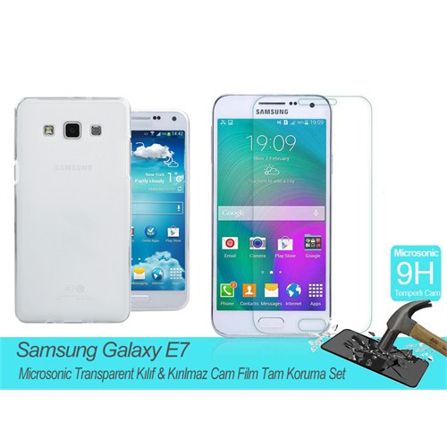 Microsonic Samsung Galaxy E7 Transparent Kılıf & Kırılmaz Cam Film Tam Koruma Set