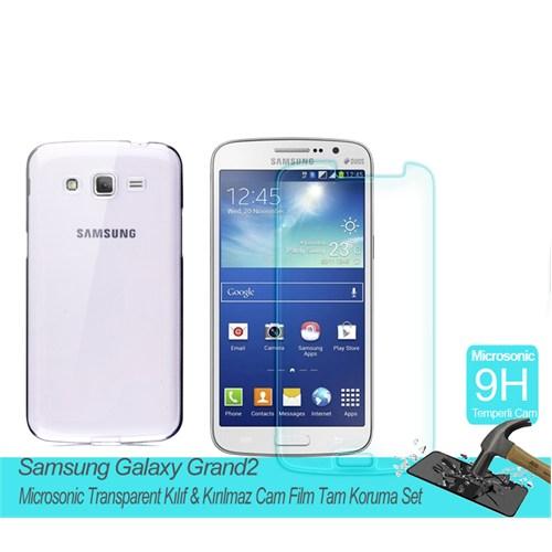 Microsonic Samsung Galaxy Grand 2 Transparent Kılıf & Kırılmaz Cam Film Tam Koruma Set