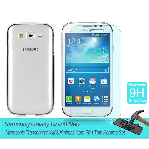Microsonic Samsung Galaxy Grand Neo Transparent Kılıf & Kırılmaz Cam Film Tam Koruma Set